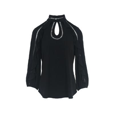 key hole point frill detail blouse